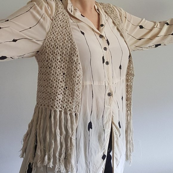 Vintage 1980's Crochet Vest with Fringe